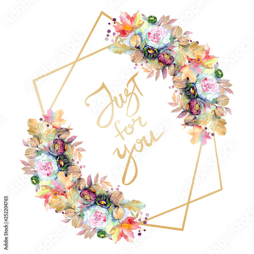 Poster Fleur Bouquets floral botanical flower. Watercolor background illustration set. Frame border ornament square.