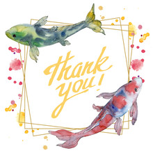 Spotted Aquatic Underwater Colorful Tropical Fish Set. Watercolor Background Illustration Set. Frame Border Square.
