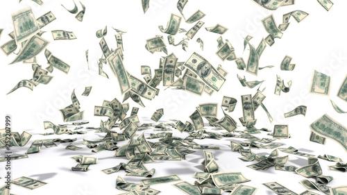 Fototapeta hundred dollar banknotes fall on graund on white background obraz