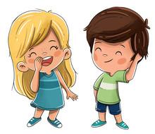 Niños Amigos Sonriendo Felices