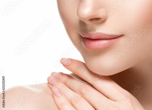 Photographie  Woman lips chin neck beautiful skin age care