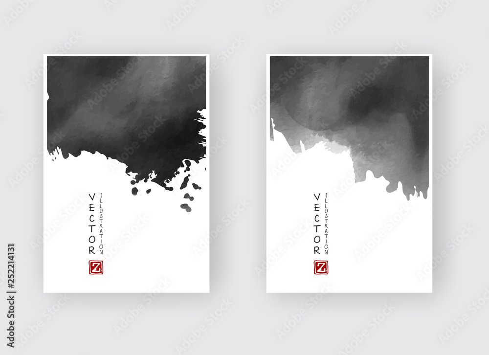 Fototapeta Elegant brochure template design ink brush element