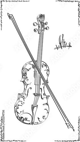 Obraz Vector black and white illustration drawing of alto (viola). - fototapety do salonu