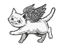 Angel Flying Kitten Color White Sketch Engraving Vector Illustration. Scratch Board Style Imitation. Black And White Hand Drawn Image.