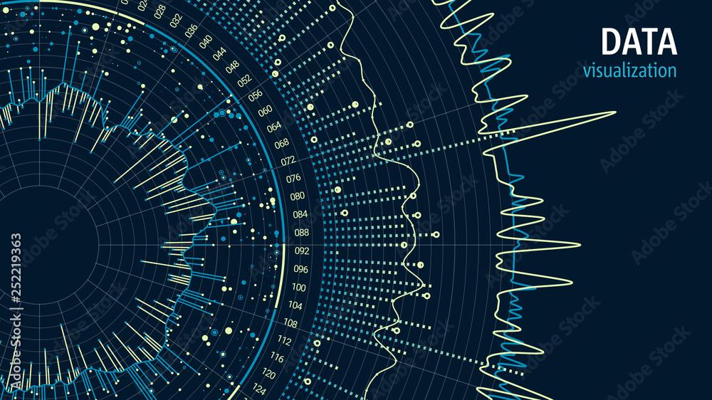 Fototapeta Data visualization concept. Infographics design. Analytics concept background. Beauty of information.