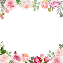 Handpainted Watercolor Frame Template Mockup With Blooming Flowers Roses And Leaves.