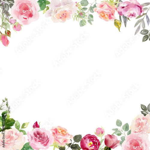 Handpainted watercolor frame template mockup with blooming flowers roses and leaves. Fototapete