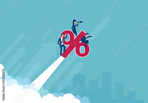 Pinturas sobre lienzo  Vector of a business team bank employees riding up a percent symbol