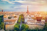 Fototapeta Fototapety z wieżą Eiffla - Cityscape of Paris at sunset.