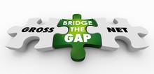 Gross Vs Net Income Puzzle Bridge Gap 3d Illustration