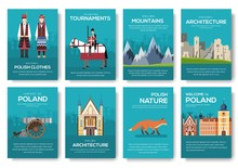 Set Of Poland Country Ornament Travel Trip Concept. Art Traditional, Magazine, Book, Poster, Abstract, Banners, Element. Vector Decorative Ethnic Greeting Card Or Invitation Design Background