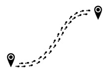 Shoes Tracking Path From One Point To Another. Footprints Trail Track With Location Pin. Footsteps Route. Vector Illustration.