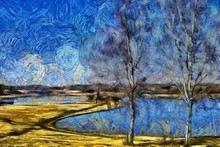 Incredible Beauty Of Nature Landscape. Spring Season. Impressionism Oil Painting In Vincent Van Gogh Modern Style. Creative Artistic Print For Canvas Or Textile. Wallpaper, Poster Or Postcard Design.