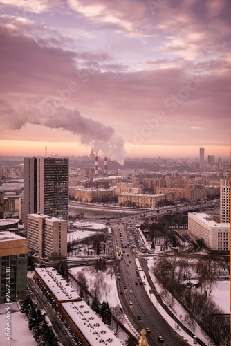 Poster London Moscow, Russia - January 9, 2019: View of the Building of the Government of Moscow (former building of the Comecon) and Free Russia Square (Svobodnoy Rossii Square)