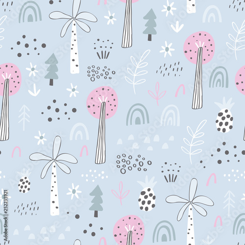 Artificiel Forest. Jungle tropical seamless pattern in childish style. Different kinds of trees - hand drawn vector illustration in creative organic style. Perfect for kids fabric, textile, nursery wallpaper.