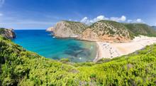 Panoramic View Of The Beach Of Cala Domestica From Above, Iglesias, Sud Sardegna Province, Sardinia, Mediterranean