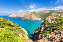 Beach Of Cala Domestica From Above, Iglesias, Sud Sardegna Province, Sardinia, Mediterranean