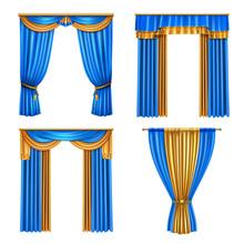 Drapes Curtains Realistic Set