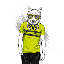 The Guy With The Head Of A Wolf Or A Dog. Animal Hipster In A T-shirt And Headphones. Vector Illustration For Greeting Card Or Poster, Print On Clothes. Fashion And Style, Clothing And Accessories.
