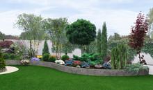 Two Tier Garden Creating, 3d Illustration