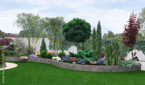 Deurstickers Grijs Two tier garden creating, 3d illustration