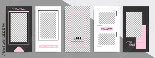 Poster Retro sign Modern minimal square stripe line shape template in pink, black and white color with frame. Corporate advertising template for social media stories, story, business banner, flyer, and brochure.