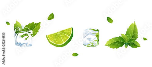 Fotografie, Obraz  Set of Vector illustration lime, ice cube and mint