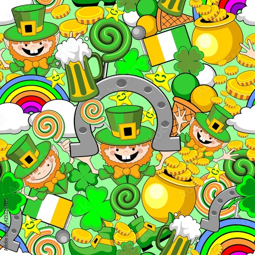 Spoed Foto op Canvas Draw St Patrick Doodles Seamless Pattern Vector Design
