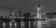 canvas print picture - big ben and houses of parliament at night, black and white