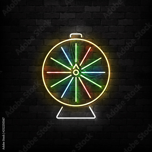 Vector realistic isolated neon sign of Wheel of Fortune logo