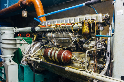 Photo  Diesel generator in bomb shelter, close up