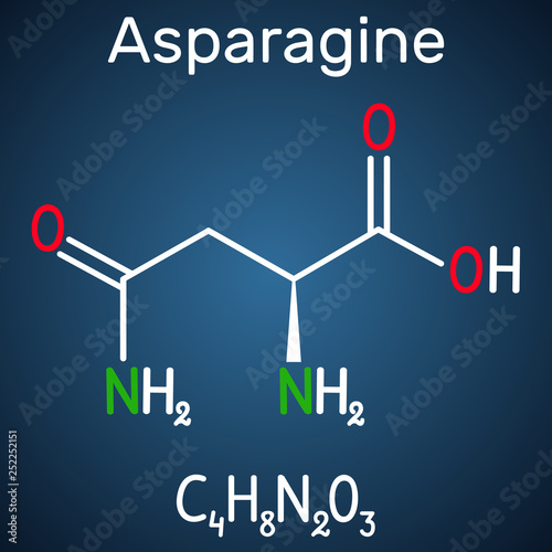 Photo Asparagine (L-asparagine , Asn, N) amino acid molecule