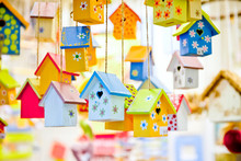 Spring Or Summer Background With Birdhouses