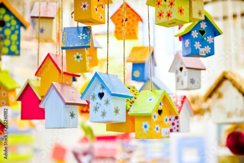 Obraz na plátně Spring or summer background with birdhouses