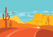 American Road In Desert In Sun Day With Blue Sky. Vector Arizona Prairie Landscape