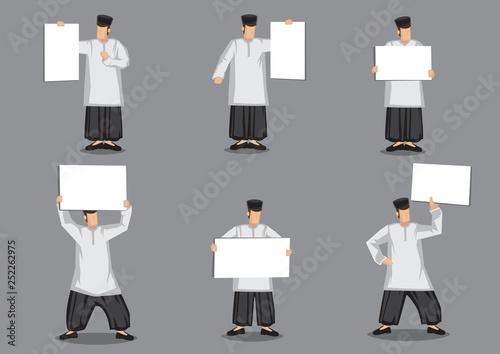 Fotografía  Malay Muslim Man Holding Placard Vector Cartoon Character Illustration