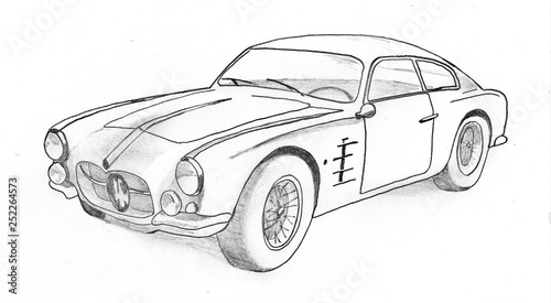 vintage sports car, manual drawing