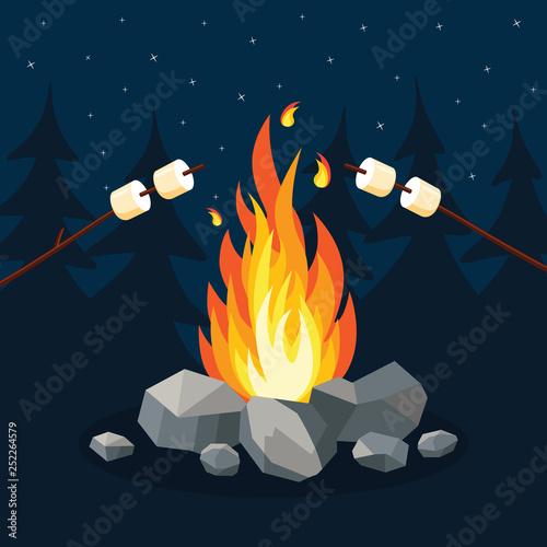 Obraz na plátne Cartoon fire flames, bonfire, campfire isolated on background