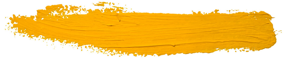 Vector yellow oil brush stroke. Abstract varnish splash trace shape. Glossy o...