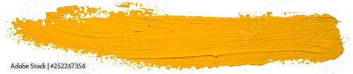Autocollant pour porte Forme Vector yellow oil brush stroke. Abstract varnish splash trace shape. Glossy oil paint smear long line on white background.