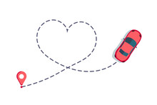 Love Car Route. Romantic Travel, Heart Dashed Line Trace And Routes. Hearted Vehicle Path, Dotted Love Valentine Day Drawing Isolated Vector Illustration.