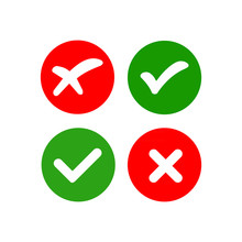 Green And Red Check Marks On Isolated White Background
