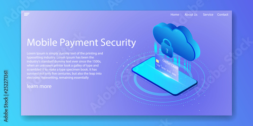 Mobile payment security isometric concept  Cloud data