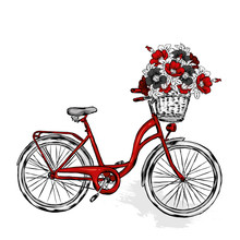 Vintage Bicycle With Basket With Flowers Of Rose, Wild Rose And Peonies. Vector Illustration For Greeting Card Or Poster. Print Vintage And Retro, Hand Drawing.