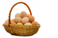 Chicken Eggs In A Wicker Basket - A Natural Product, Useful And Nutritious Food.