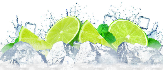 lime water splash and ice cubes isolated on the white