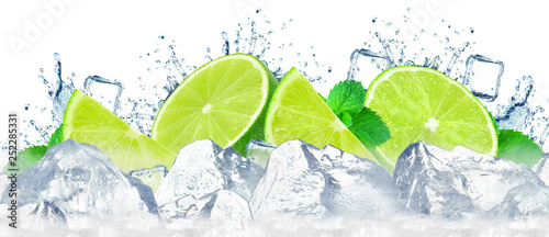 Fotografie, Obraz  lime water splash and ice cubes isolated on the white