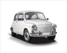 Classic Serbian Supermini Car Isolated On White