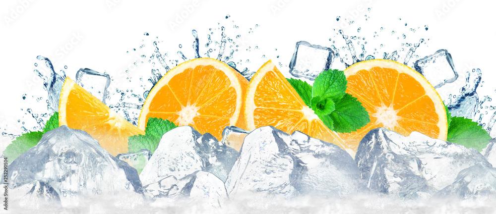 Fototapeta orange water splash and ice cubes isolated on the white