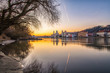 Passau im Sonnenuntergang im Frühling